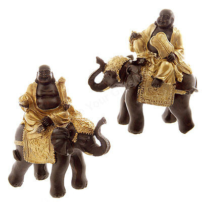 Pair Gold &Brown Laughing Fat Buddha Riding Elephant Travelling Buddha Feng Shui