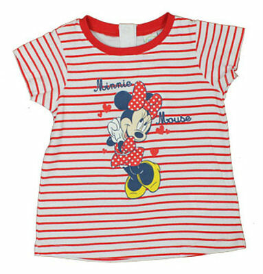 Disney Minnie Mouse Baby Girls Short Sleeved T-Shirt Striped 6 - 23 Months (New)