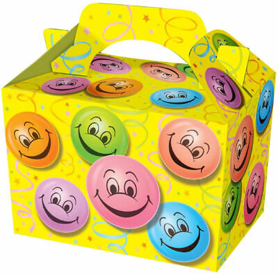 10 Happy Face Party Boxes - Food Loot Lunch Cardboard Gift Smiley