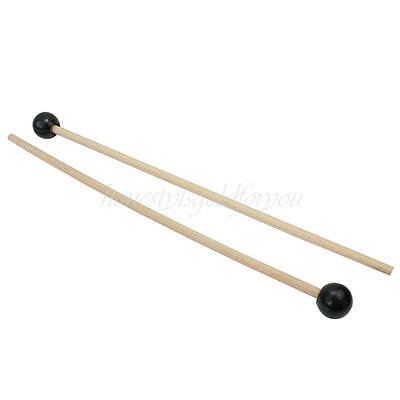 2pcs 38.5cm Black Hard Rubber Heads Mallets Stick Beaters for Xylophones Bells