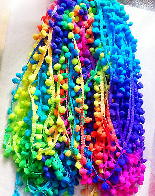 "POM POM BOBBLE TRIM FRINGE * Multicolored RAINBOW POMPOMS * Ball 1cm (0.4"") By M"