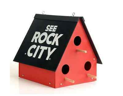 Rock City Birdhouse Gardens Food Feeder Barn Lookout Mountain Blue Bird House