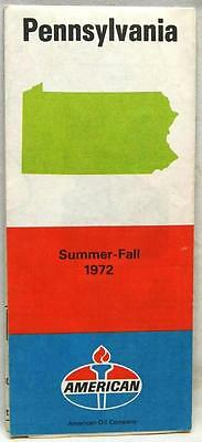 American Oil Service Station Pennsylvania Highway Road Map 1972 Vintage Travel