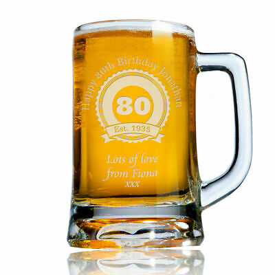 Personalised Engraved Beer Pint Glass Tankard 80th 90th Birthday Gift Boxed