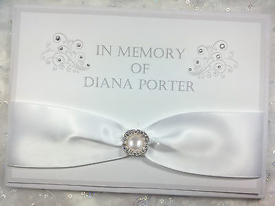 Personalised Luxury Book Of Condolence Funeral Memorial Guest Book