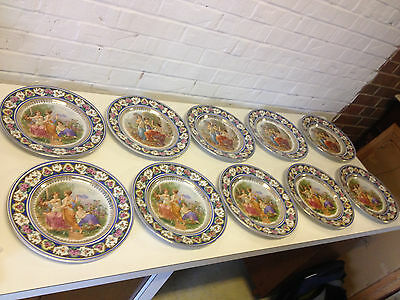 Antique Early 20th Century Elbogen Czechoslovakia Set of 10 Plates w Women Muses