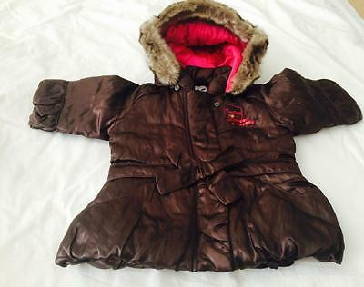 CONFETTI/ABSORBA Boutique ~ Baby Girls Brown Jacket/Parka w/Hood 6-12mths NWT