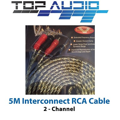 5M PRO 2-CHANNEL RCA INTERCONNECT LEAD CABLE 5 METER Car AUDIO Amp SIGNAL