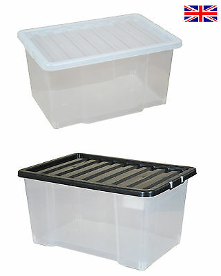 Multipacks of 50 Litre Large Plastic Storage Boxes with Lids - New Clear Box 50L