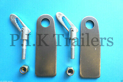 2 x Anti Luce M12 x 44mm Drop Catch Trailer Gate Fastener & XL PLATES