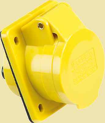 16 AMP 110V ANGLED PANEL MOUNT SOCKET 2P+E Industrial Socket, IP44 Rated 110v