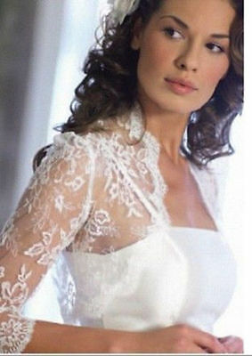 2015 NEW White/Ivory Half Sleeve Bridal Bolero/Shrug/Wrap Lace Wedding Jacket
