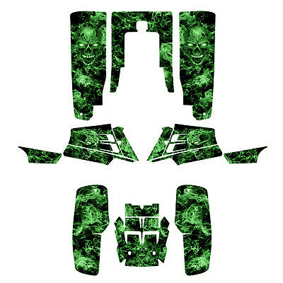 Yamaha Banshee 350 graphics custom full coverage kit #9500 Green Zombie Skull