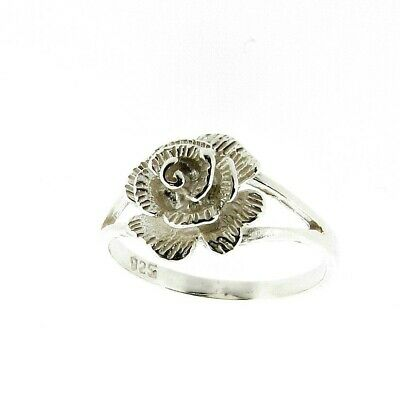 Sterling Silver Fancy Rose Design Ring Hand Finished Made in the UK RRP £29.99