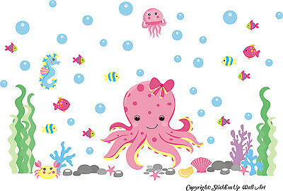 Pink Octopus Decal - Baby Girl's Nursery Room - Ocean Wall Decals - Removable