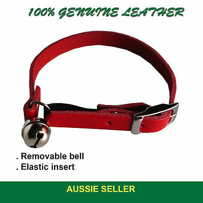 Leather Cat Collar/Collars adjustable with BELL Quick release safety elastic