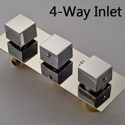 Modern 4 Ways Square Handles Thermostatic Valve Mixer Shower Valve Chrome Brass