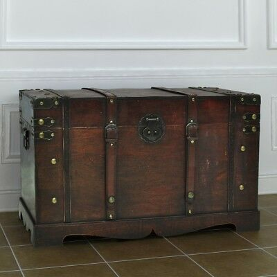 Vintage Large Wooden Treasure Storage Chest Box Trunk Furniture Wood Home Table