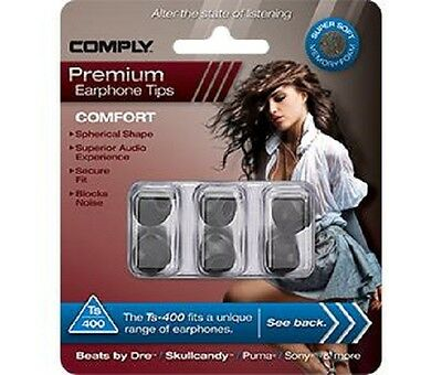 Comply Foam Ear Tips Comfort Ts-400 Black - 3 Pairs