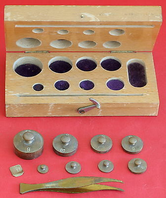 Vintage German Brass Set 9 Pcs Weight Scale Apothecary with Box