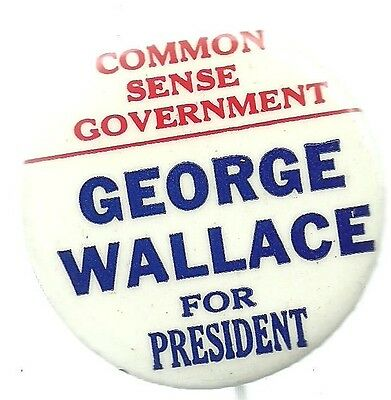 George Wallace Common Sense Government 1968 Third Party Political Pin
