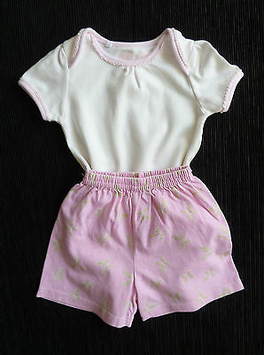Baby clothes GIRL 6-9m pink/white bodysuit/t-shirt + pink soft shorts butterfly