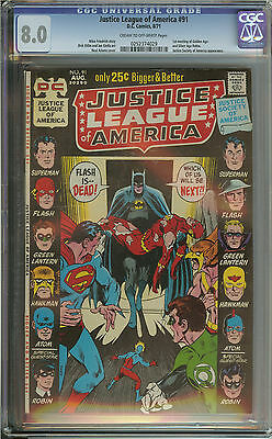 Justice League Of America #91 Cgc 8.0 Cr/ow Pages // Neal Adams Cover