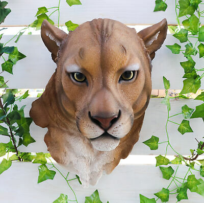 "Mountain Lion Lioness Hanging Head Bust Wall Figurine Home Decor Plaque 17""H"