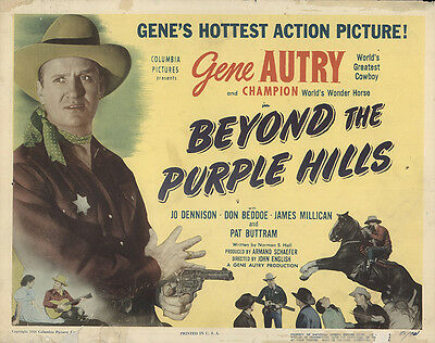 Beyond the Purple Hills 1950 Original Movie Poster Action Music Western