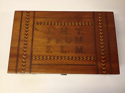 Antique Late 19th Early 20th Century Mahogany Inlaid Vanity Box LMT From FLM