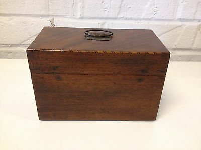 Antique 19th Century Mahogany Inlaid Tea Caddie w/ Leather Lined Interior