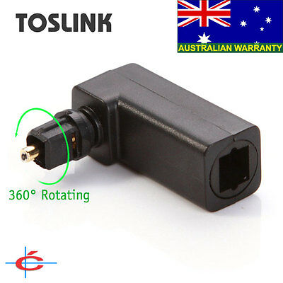 Toslink SPDIF Right-Angle Adapter / Joiner, Optical Male to Female, 360° Rotated