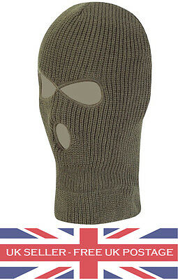 3 Hole Green Balaclava Motorcyclists Fancy Dress Paintball Airsoft Outdoors