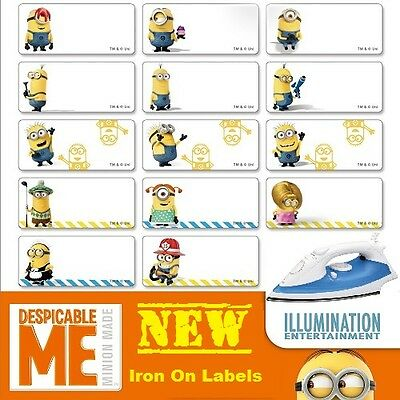 36 Minion Iron On Personalised Name Clothing Labels - Med (30*15mm)  Cold Wash