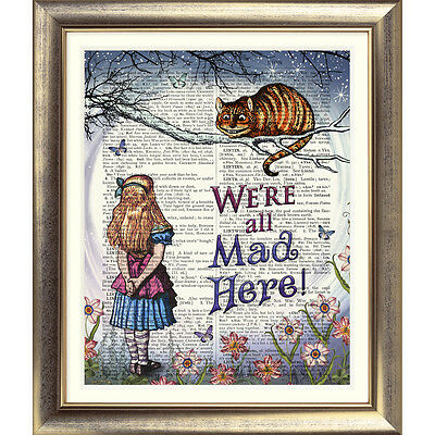 ART PRINT ORIGINAL ANTIQUE BOOK PAGE Vintage Alice in Wonderland Cheshire Cat