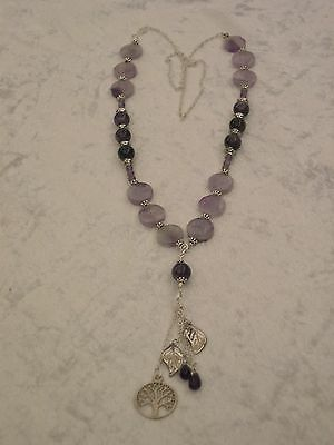 Amethyst Gemstone Tree Of Life Healing Necklace - Silver
