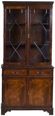 Antique Style Vintage Mahogany Glass Door Bookcase Display Cabinet Bookshelf