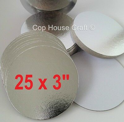 "25 x 3"" ROUND THIN CUT EDGE SILVER BOARDS cake cupcake cards sugarcraft culpitt"
