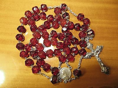Late 1800's Antique Garnet Glass Beads Rosary with Puffed Crucifix-Hallmarked