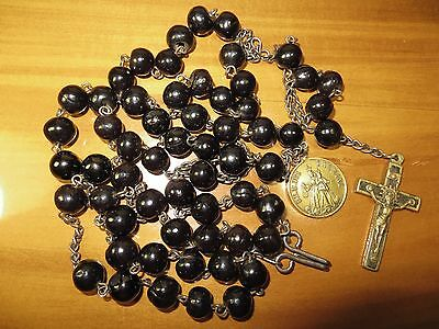 """RARE 1800's Antique Dominican Nuns Habit Rosary w/ Dried Cherry Fruit Beads 32"""""""
