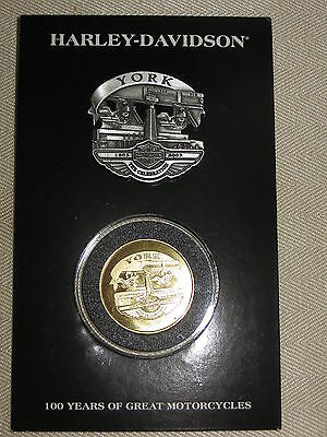 "Harley Davidson 100th Anniversary Pin and Coin Set  ""York""   New on Card - Rare-"