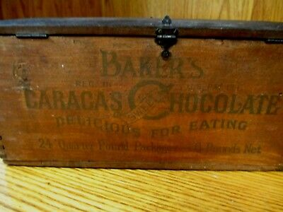 Walter Baker Dovetailed Wood Chocolate Box Finger Top Advertising Dorchester MA