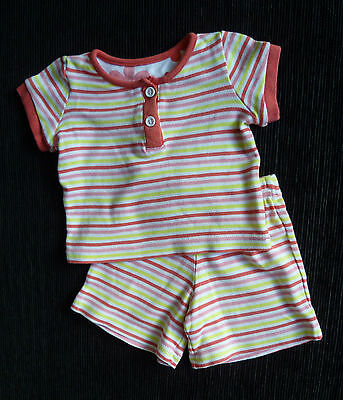 Baby clothes GIRL 3-6m TU outfit pink/yellow stripe t-shirt/shorts brush cotton