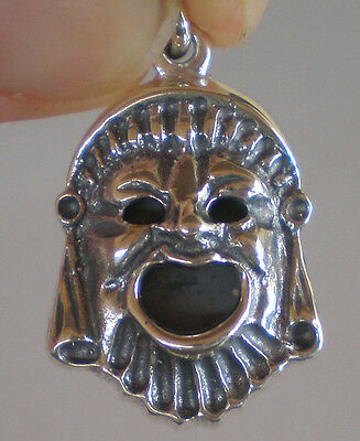 Ancient Greek Theater Silver Comedy Mask Silver Pendant