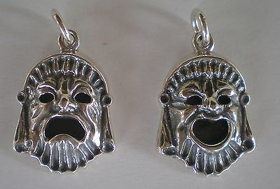 Comedy & Tragedy Ancient Greek Theater Silver Masks Pendants