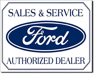Ford Sales & Service Authorized Dealer Tin Metal Sign Home Garage Decor Man Cave