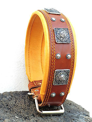 Real leather studded dog collar. Hand made in Europe. Top quality. L-XXL