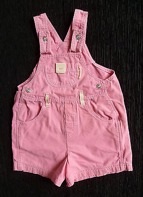 Baby clothes GIRL 6-12m M&S short dungarees pink cotton cream detail SEE SHOP!
