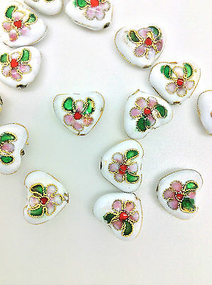 13mm  x 11mm WHITE CLOISONNE HEARTS x 10 pc  - ***UK SELLER***