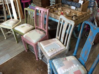 Shabby Chic, Distressed Patchwork Chairs, Pretty Pastels, Upcycled, Primitive,